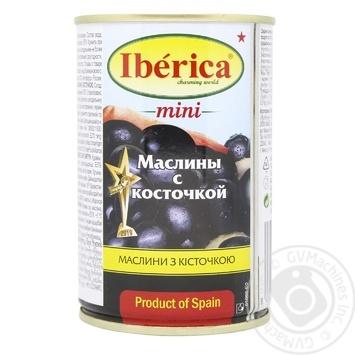 Маслини Іберіка міні чорні з кісточкою 300г - купити, ціни на Ашан - фото 1