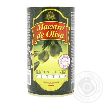 olive Maestro de oliva green pitted 350g can - buy, prices for Auchan - image 1