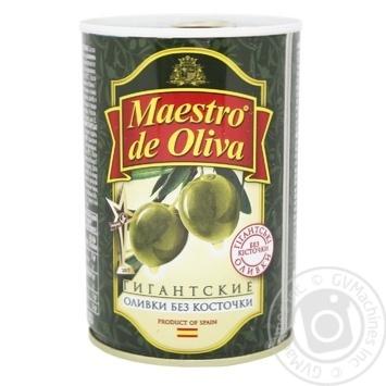 Оливки Maestro de Oliva гігантські без кісточки 432мл - купить, цены на Novus - фото 1
