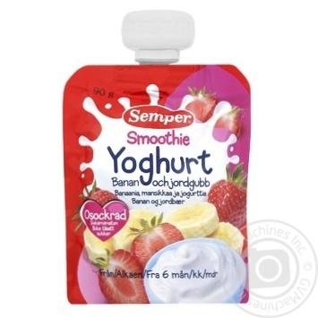 Пюре Semper Смузи банан-клубника с йогуртом 90г