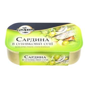 Сардина Fish Line в оливковом масле 125г - купить, цены на МегаМаркет - фото 1