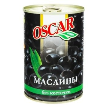 Маслины Оскар черные без косточки 432мл