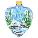 Игрушка елочная Сердце большое с пейзажем стекло в ассортименте