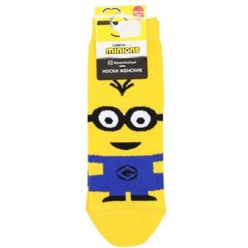 Шкарпетки жіночі Брестські Minions жовтий розмір 23