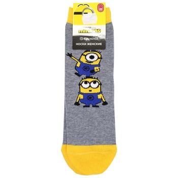 Brestskie Minions Gray Melange Women's Socks Size 25