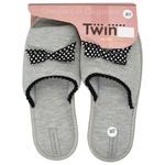 Капці домашні Twins жіночі р.36-37 сірий бант горох