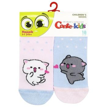 Шкарпетки дитячі Conte Kids Веселі Ніжки 17С-10СП розмір 18 478 блакитний-світло-рожевий