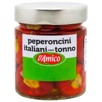 Перець d'Amico італійський чилі з тунцем 190г - купити, ціни на Ашан - фото 1