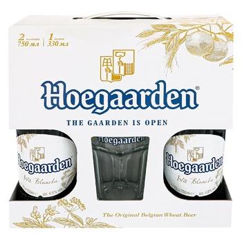 Пиво Hoegaarden White светлое нефильтрованное 2шт 0,75л + бокал 0,33л - купить, цены на Ашан - фото 1