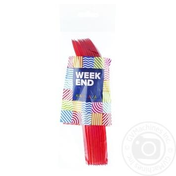 Ложки пластикові кольорові Мікс Вікенд 10шт - купить, цены на Novus - фото 1