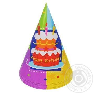 Колпак Веселая Затея Happy Birthday Торт 6шт