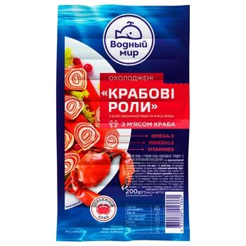 Vodnyi Mir Chilled Crab Rolls from Surimi with Salmon Meat 200g - buy, prices for CityMarket - photo 1