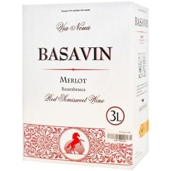 Вино Basavin Мерло красное полусладкое 11% 3л