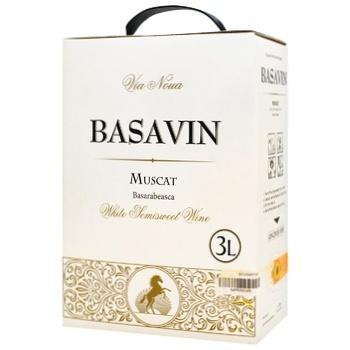 Вино Basavin Мускат белое полусладкое 11% 3л
