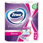 Полотенца бумажные Zewa Premium Decor белые 2-х слойные 2шт