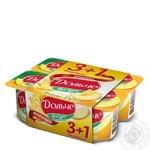 Йогурт Президент Дольче ананас-дыня двухслойный 3.2% 4х120г пластиковый стакан Украина