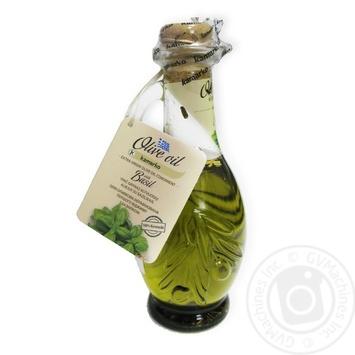 Олія оливкова нерафінована першого віджиму з базиліком Kamarko 240 мл скляна пляшка