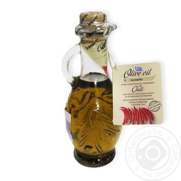 Олія оливкова нерафінована першого віджиму з перцем чилі Kamarko 240 млскляна пляшка