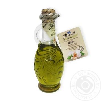 Олія оливкова нерафінована першого віджиму з часником Kamarko 240 мл скляна пляшка