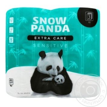 Туалетная бумага Snow Panda sensitive трехслойная 4шт - купить, цены на Ашан - фото 1