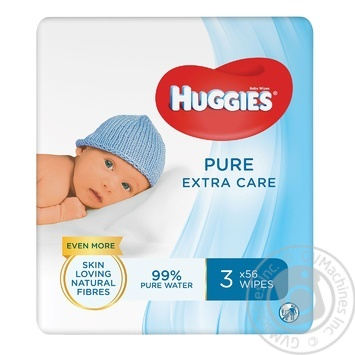 Салфетки влажные Huggies Pure Extra Care детские 3х56шт