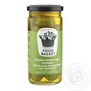 Оливки зеленые Food basket Халкидики без косточки 260г