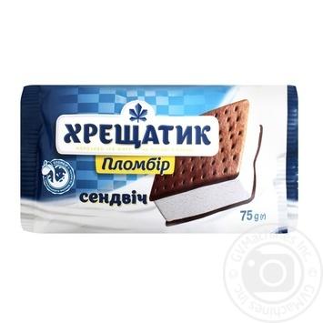 Мороженое пломбир Крещатик на печенье с какао 75г