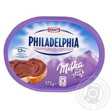 Сыр Крафт Фудс Милка Филадельфия мягкий шоколадный 13% 175г - купить, цены на МегаМаркет - фото 1