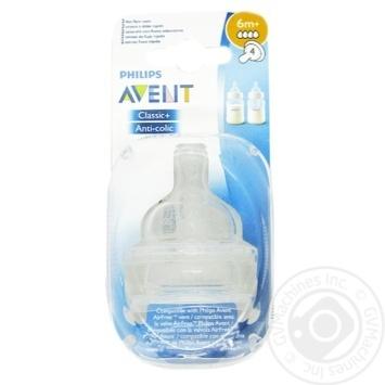 Соска на 4 отвори-швидк потік Avent 2шт - купить, цены на Фуршет - фото 1