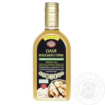 Олія Golden Kings of Ukraine волоського горіха першого холодного віджиму нерафінована та недезодорована 350мл - купити, ціни на Ашан - фото 1