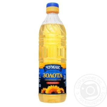 Масло Чумак Золотое подсолнечное рафинированное 500мл - купить, цены на Ашан - фото 1