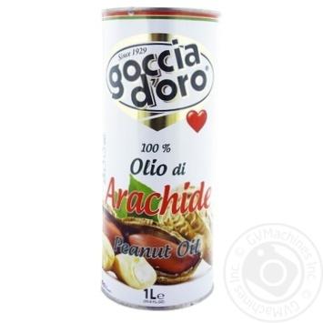 Масло арахисовое Goccia D'oro рафинированное дезодорированное 1л - купить, цены на Novus - фото 1