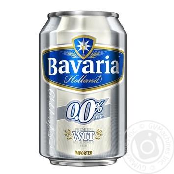 Пиво Bavaria Holland светлое безалкогольное ж/б 0% 0,33л - купить, цены на МегаМаркет - фото 1