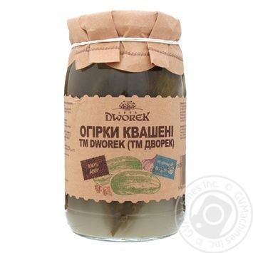 Огірки солоні бочкові Dworek-1905 850г - купити, ціни на Novus - фото 1