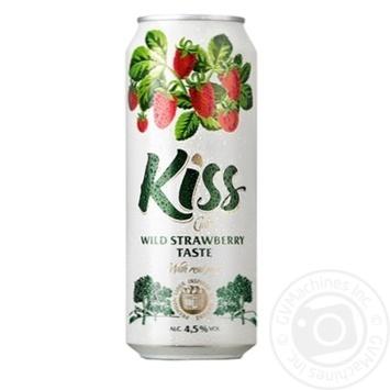 Сидр Kiss газированный со вкусом земляники з/б 4,5% 0,5л - купить, цены на Novus - фото 1