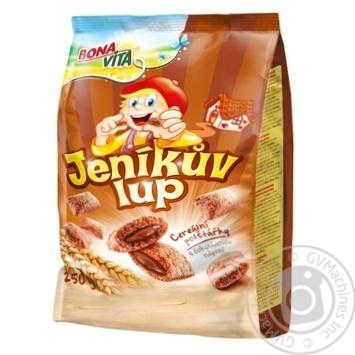 Сніданок сухий Bona Vita зернові подушечки з шоколадною начинкою 250г - купити, ціни на Novus - фото 1