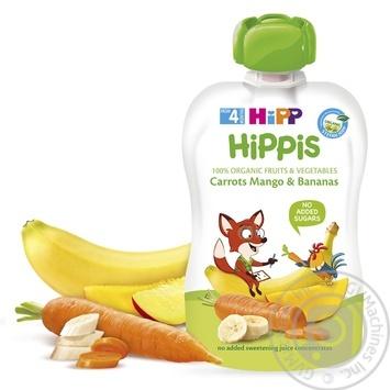 Пюре фруктове HiPP Hippis морква-манго-банан для дітей з 4 місяців 100г - купити, ціни на Ашан - фото 1