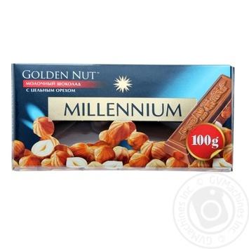 Шоколад молочний Millennium Golden Nut з цільними лісовими горіхами 90г