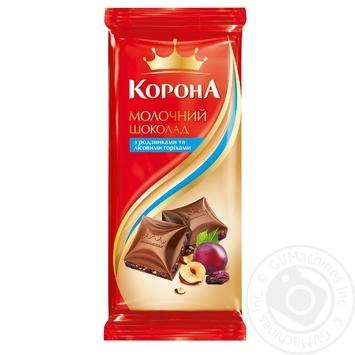 Шоколад Корона молочный с изюмом и лесными орехами 90г - купить, цены на Восторг - фото 1