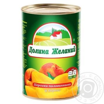 Персики Долина Бажань половинками в сиропі 850мл - купити, ціни на МегаМаркет - фото 1