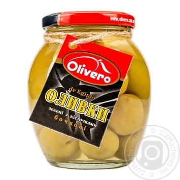 Оливки зеленые Olivero бочковые с косточками 350г - купить, цены на Novus - фото 1