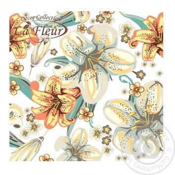 Салфетки La Fleur Полотно из лилий столовые бумажные 33х33см 2 слоя 20шт - купить, цены на Novus - фото 1
