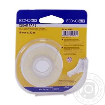 Лента клейкая прозрачная Economix в диспенсере 19X33мм - купить, цены на МегаМаркет - фото 1