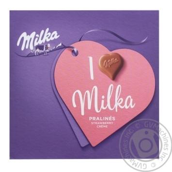 Конфеты из молочного шоколада Milka кремово-клубничная начинка 110г - купить, цены на Ашан - фото 1