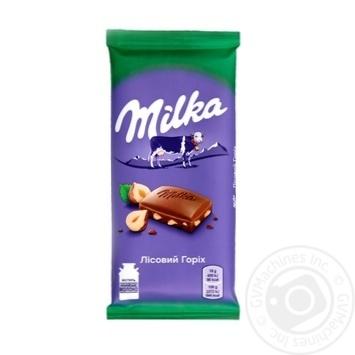 Шоколад Milka молочный с измельченным лесным орехом 90г