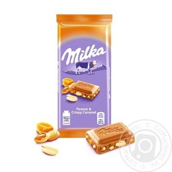 Шоколад молочний Milka карамель з арахісом 90г