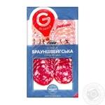 Колбаса Глобино Брауншвейгская сырокопченая 80г - купить, цены на Ашан - фото 1