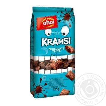 Сніданок сухий готовий OHO Зернові подушечки з начинкою зі смаком шоколаду 175г - купить, цены на Novus - фото 1