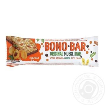 Батончик-мюслі Vale Bono Bar з курагою частково глазурований кондитерською глазур'ю 40г - купити, ціни на МегаМаркет - фото 1