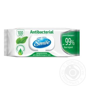 Влажные салфетки Smile Antibacterial 100шт - купить, цены на Novus - фото 1
